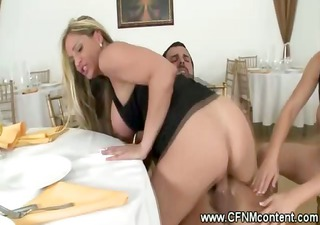 CFNM MILFs have a cock riding orgy