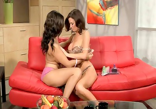 Two hot brunette MILFs do a 69 then share a
