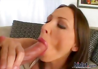 Nasty brunette MILF with a nice ass eats his